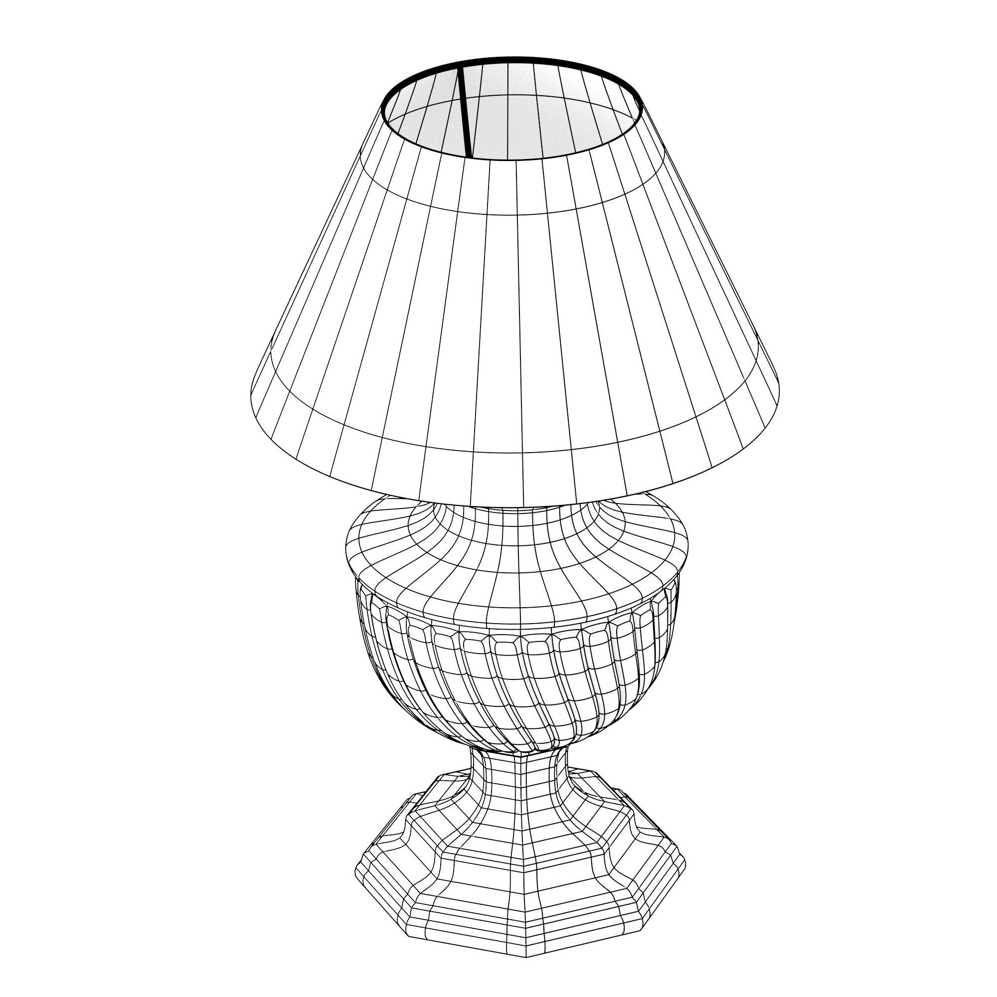 2000x2000 3d Model Old Style Lamp With Beige Lampshade Cgtrader