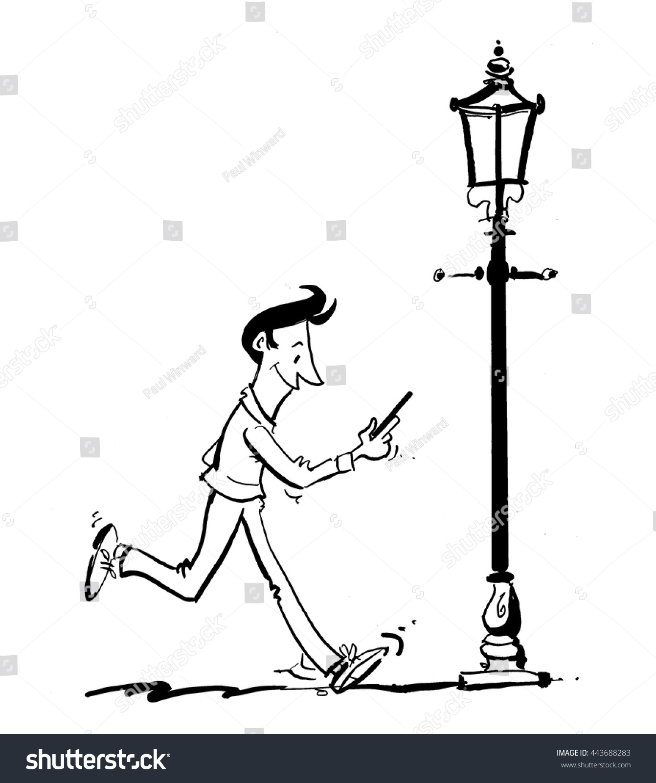 1341x1600 Drawing Of A Lamp Cartoon Line Drawing Man On Phone Stock Vector