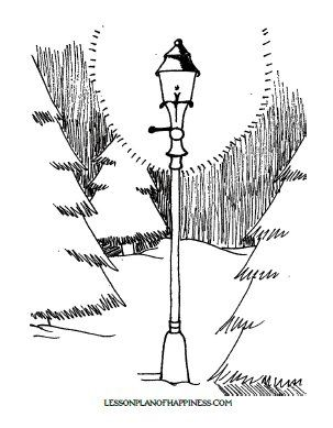 303x389 The Lion, The Witch, And The Wardrobe Lamp Post Coloring Page