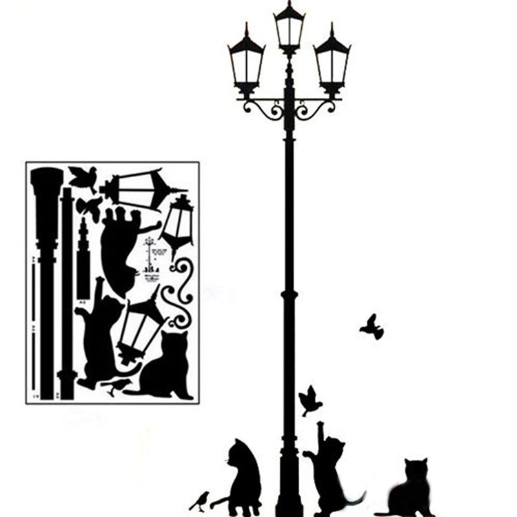 750x750 1pc Cats Street Lamp Lighs Stickers Wall Decal Removable Art Vinyl
