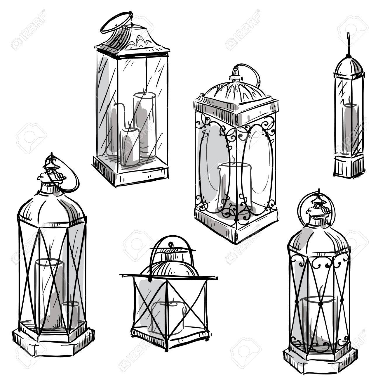 1295x1300 Set Of Hand Drawn Lanterns. Vector Sketch. Royalty Free Cliparts