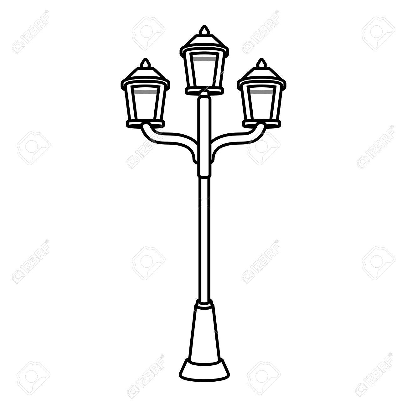 1300x1300 Drawing Luminaires With Three Lamps Vector Illustration Royalty