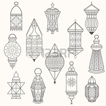 450x450 Set Of Old Lamps. Lantern Vector Dark Silhouettes. Ramadan Kareem