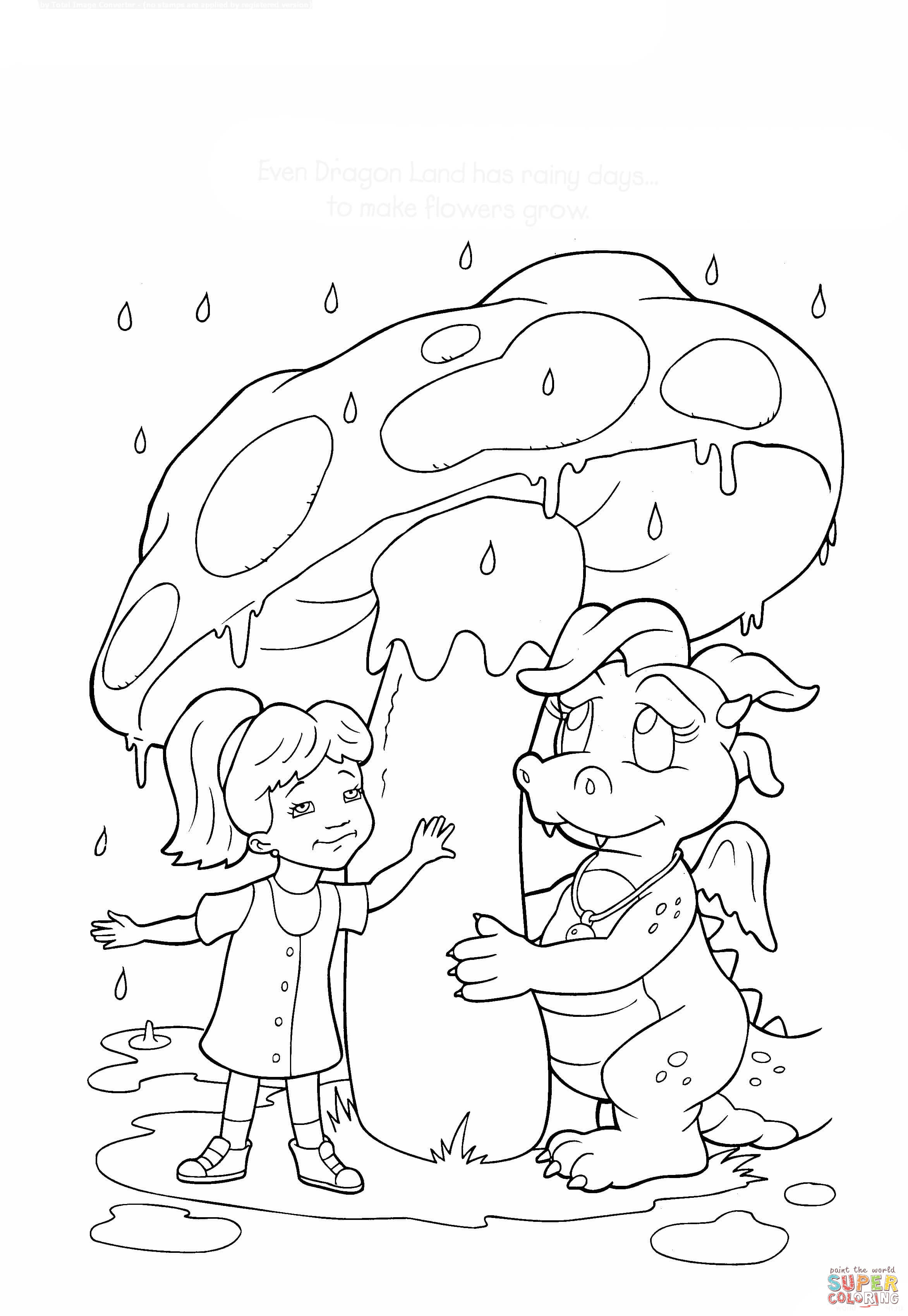 2345x3396 Rainy Day In Dragon Land Coloring Page Free Printable Coloring Pages