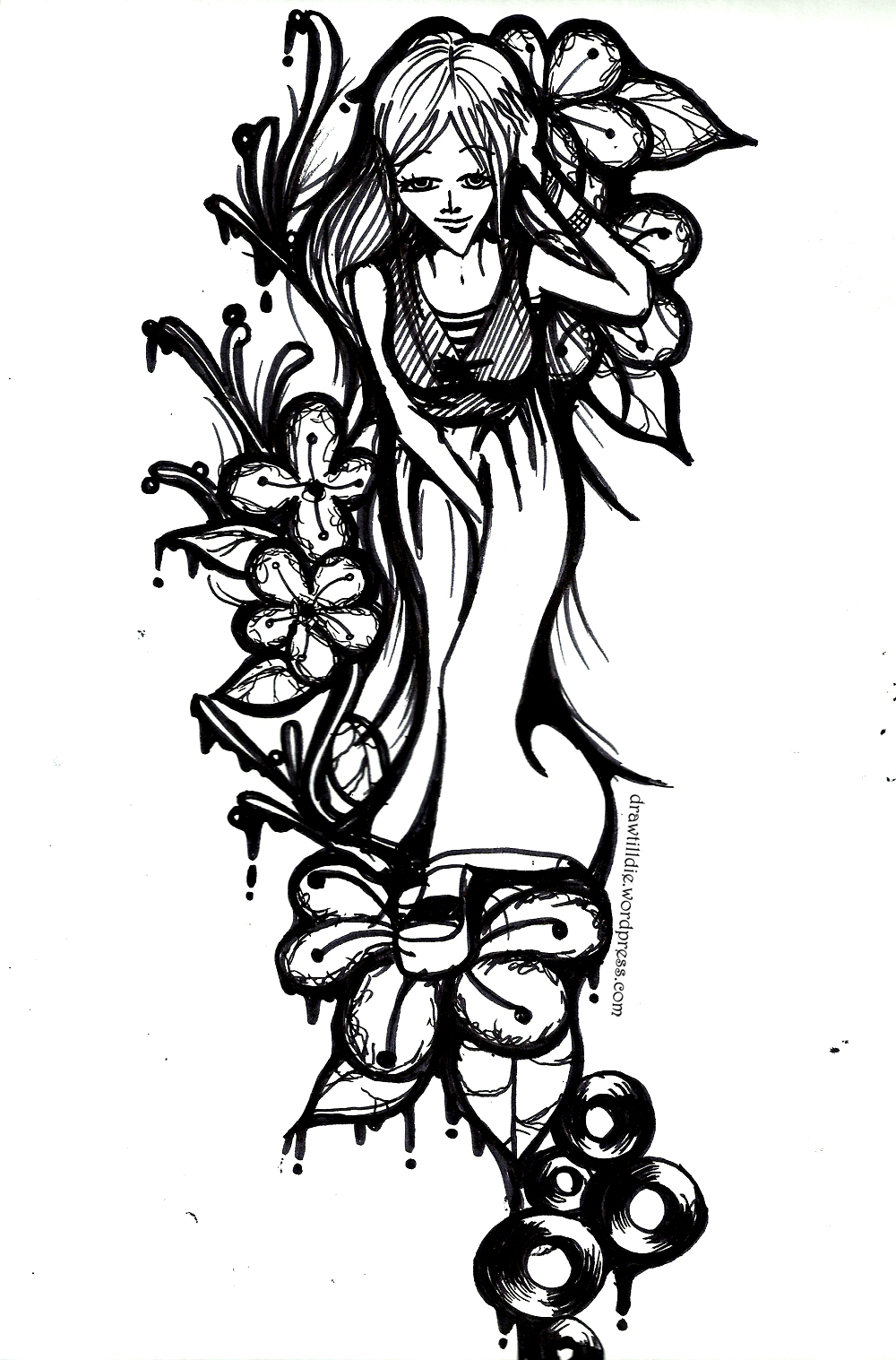 1000x1517 Black And White Drawn Girl Design Drawing Anienday Land