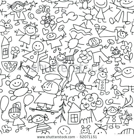 450x470 Kids Bedroom Drawing Kids Drawing Seamless Pattern Stock Vector