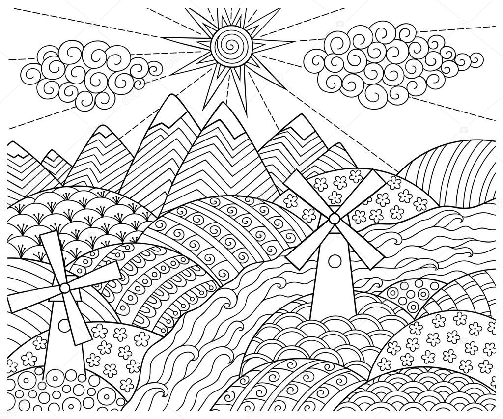 1024x853 Doodle Pattern In Black And White. Landscape Pattern For Coloring