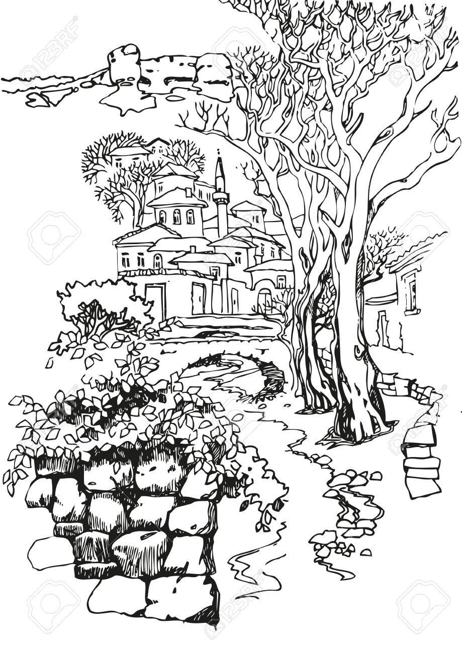 919x1300 Illustration Of The Black And White Design Of The Old City. Sketch