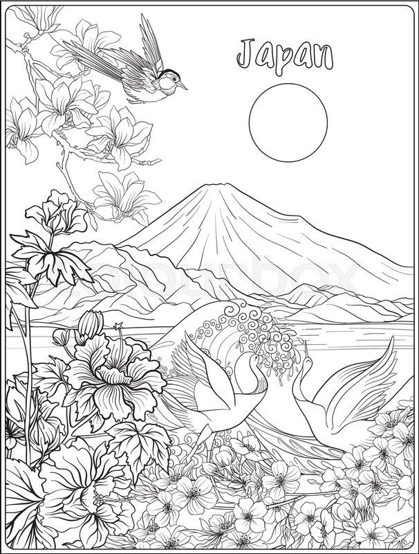 606x800 Japanese Landscape With Mount Fuji, Sea, And Japanese Woman Kimono
