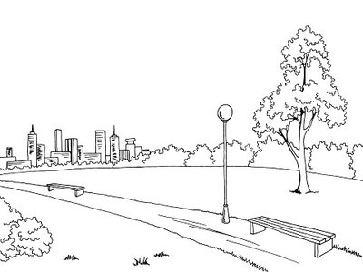400x300 Park Graphic Black White Bench Lamp Landscape Sketch Illustration