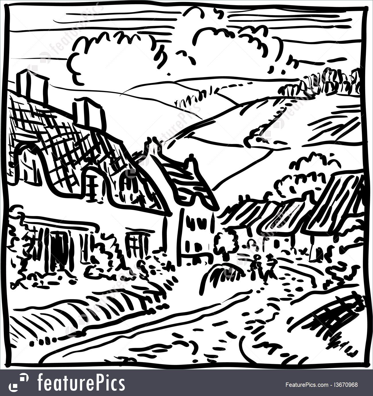1300x1380 Village Landscape Illustration