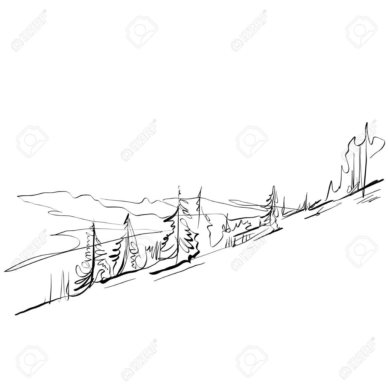 1300x1300 Black And White Hand Drawn Landscape, Illustrated Mountains
