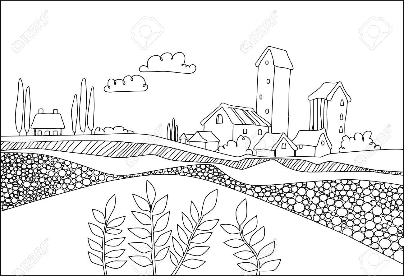 1300x888 Black White Village, Field And Plants In Cartoon Style. Italian
