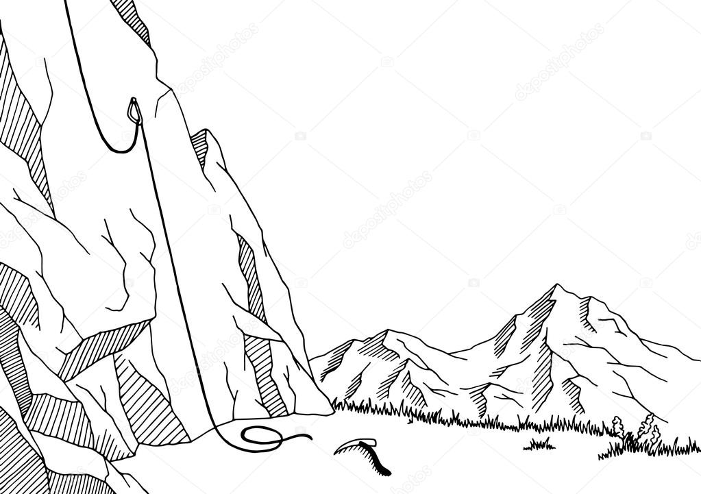 1023x721 Cliff Mountaineering Graphic Art Black White Landscape Sketch