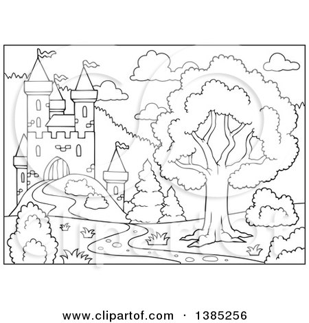 450x470 Clipart Of A Black And White Lineart Castle Landscape