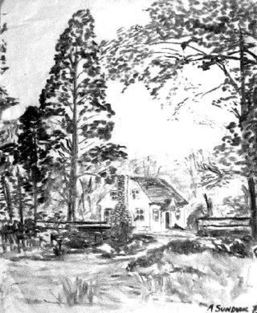 525x640 Michael Garr Artwork Valley Cottage House Original Drawing