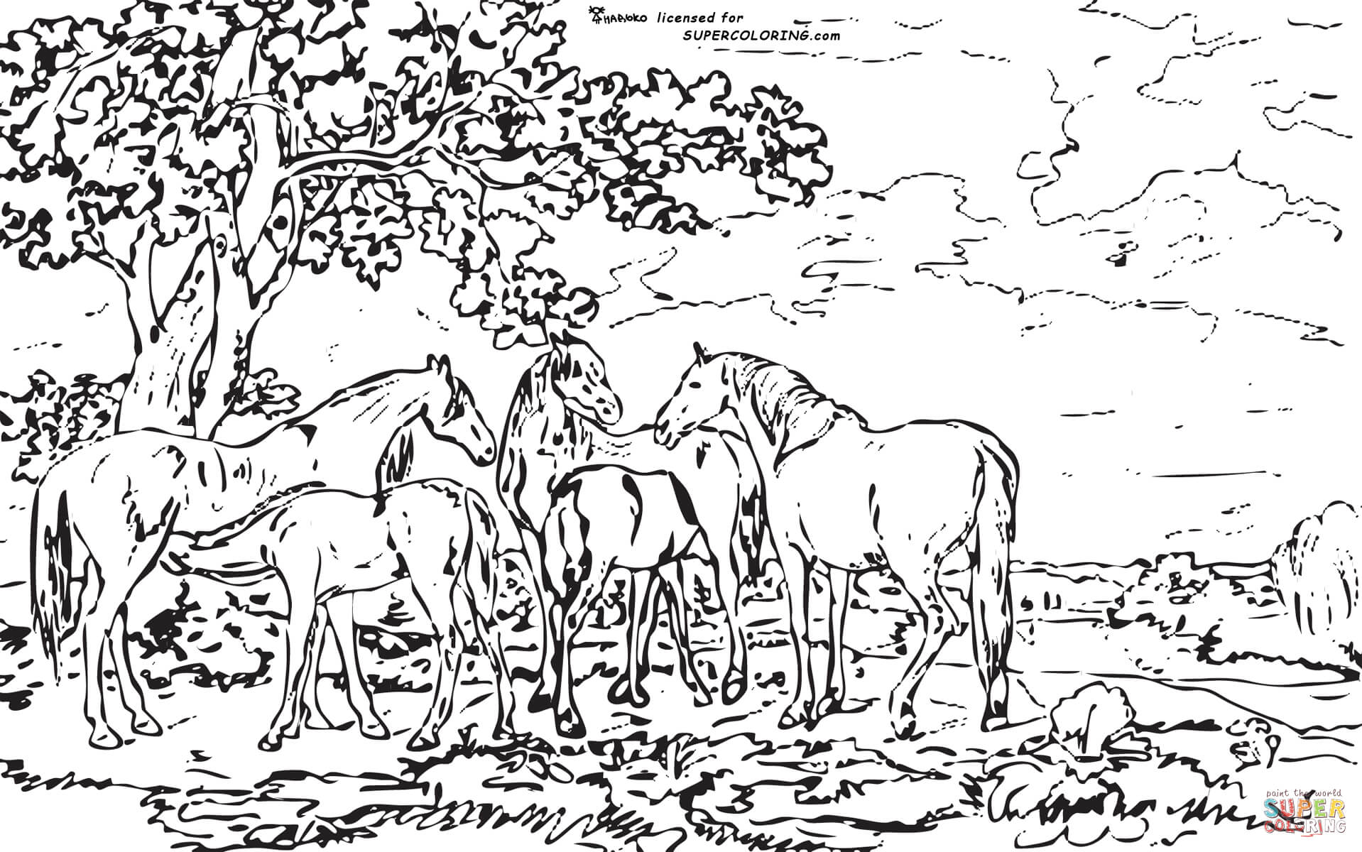 1918x1200 Mares And Foals In A River Landscape By George Stubbs Coloring