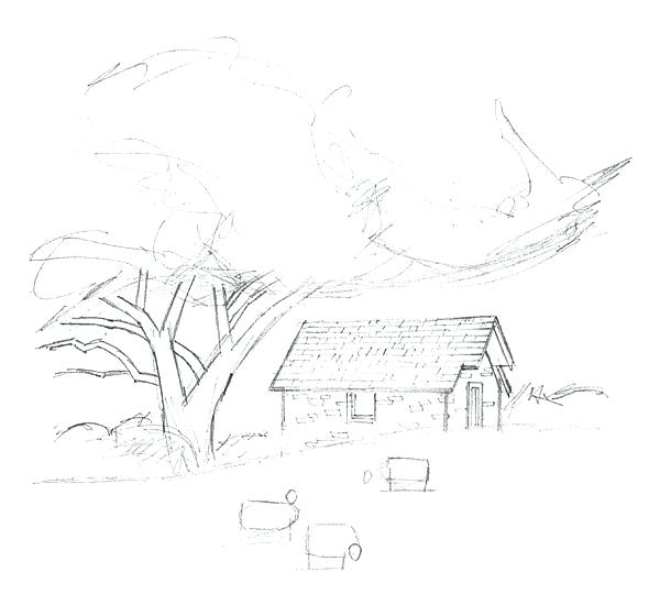 600x540 Landscape Drawing Autumn Landscape Drawing Countryside Scenery