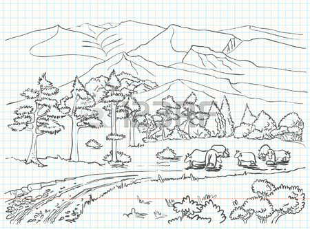 450x333 Landscape Sketch Drawing Royalty Free Cliparts, Vectors, And Stock