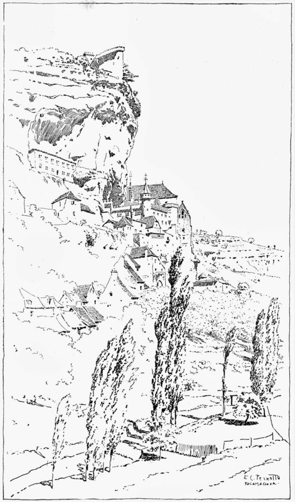 939x1600 Landscape drawing by E. C. Peixotto Landscape Drawings