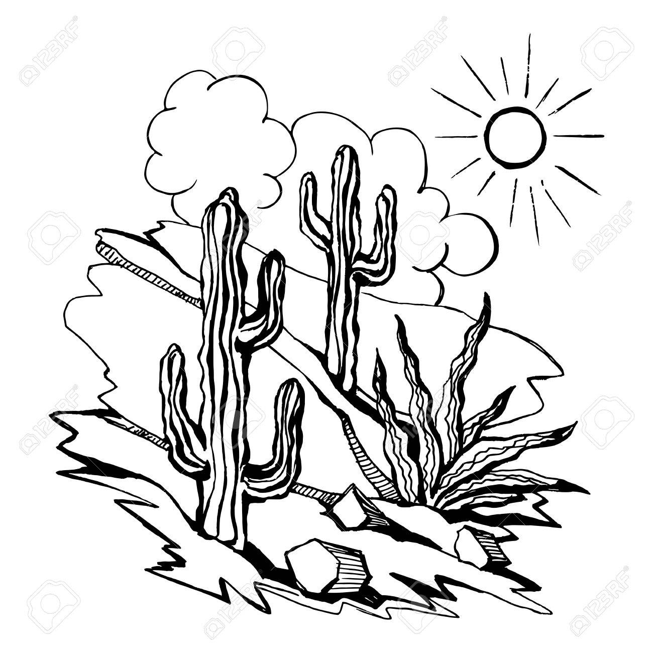 1300x1300 Vector Sketch Of Outline Drawing Landscape Royalty Free Cliparts