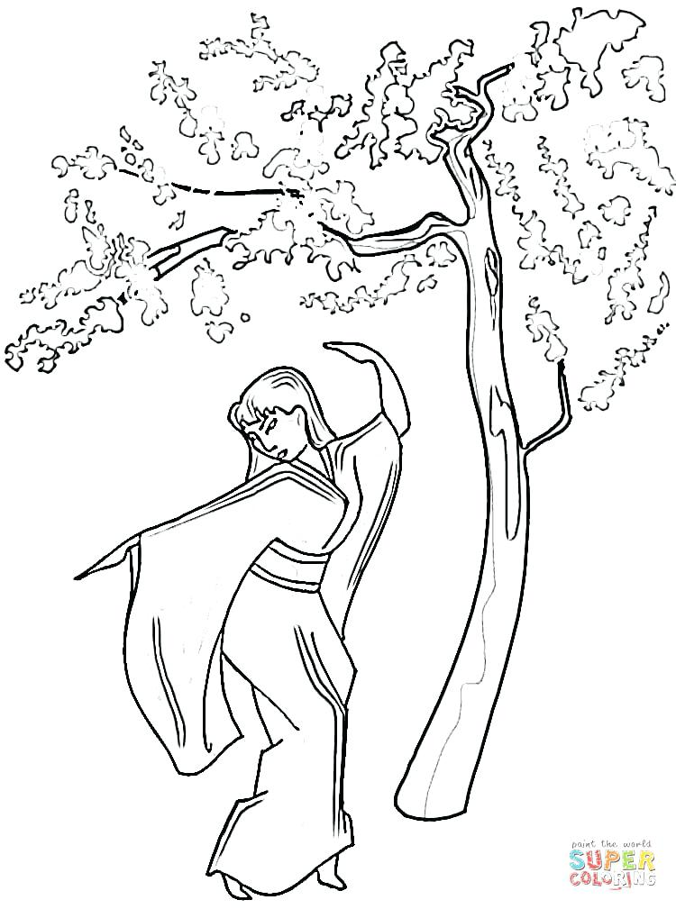 750x1009 Japan Coloring Pages Landscape With Lotus And Fish Outline Drawing