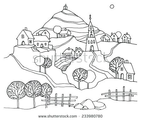 450x384 Landscape Outline No Outline Landscape By Landscape Drawing Notes