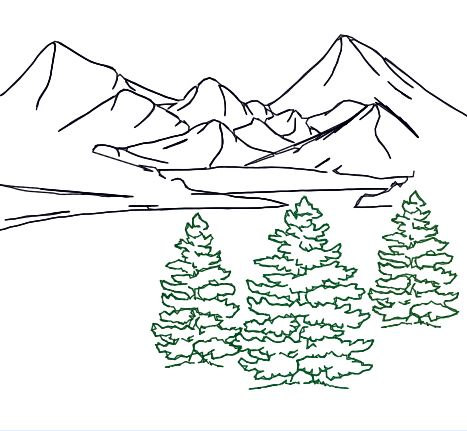 467x431 Embroidery Design Fir Tree Trio Outline, Mountain Landscape