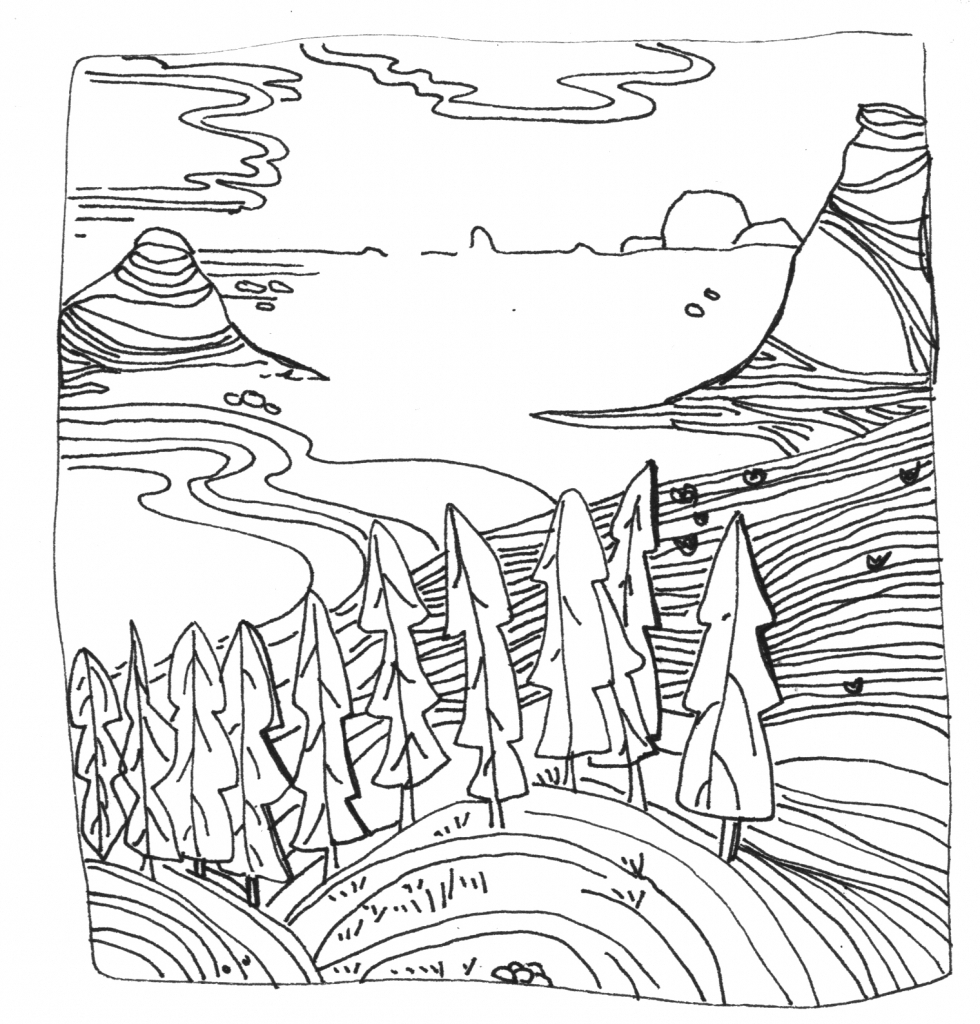 980x1024 Landscape Line Drawings Landscape Line Drawing How To Draw
