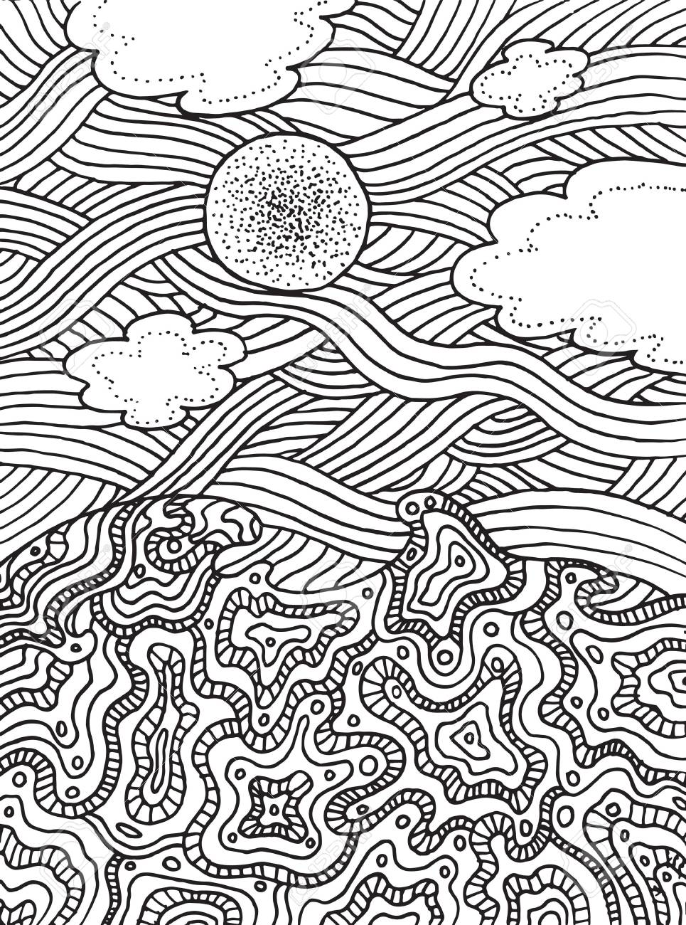 965x1300 Summer Sea And Sky With Clouds And Sun. Vector Hand Drawn Line