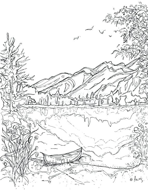 570x731 Items Similar To Serenity Jasper Landscape Printable Coloring Page
