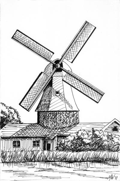 400x600 Windmill Original Art Paintings