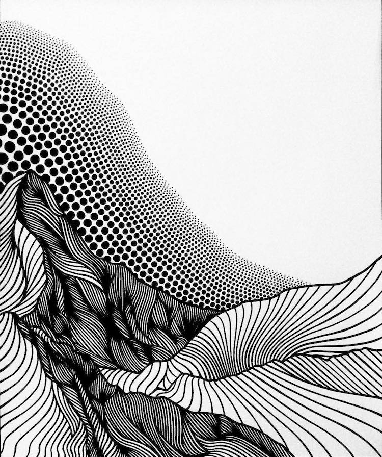 750x896 Christa Rijneveld Creates Pen And Ink Line Drawings Of Mountains