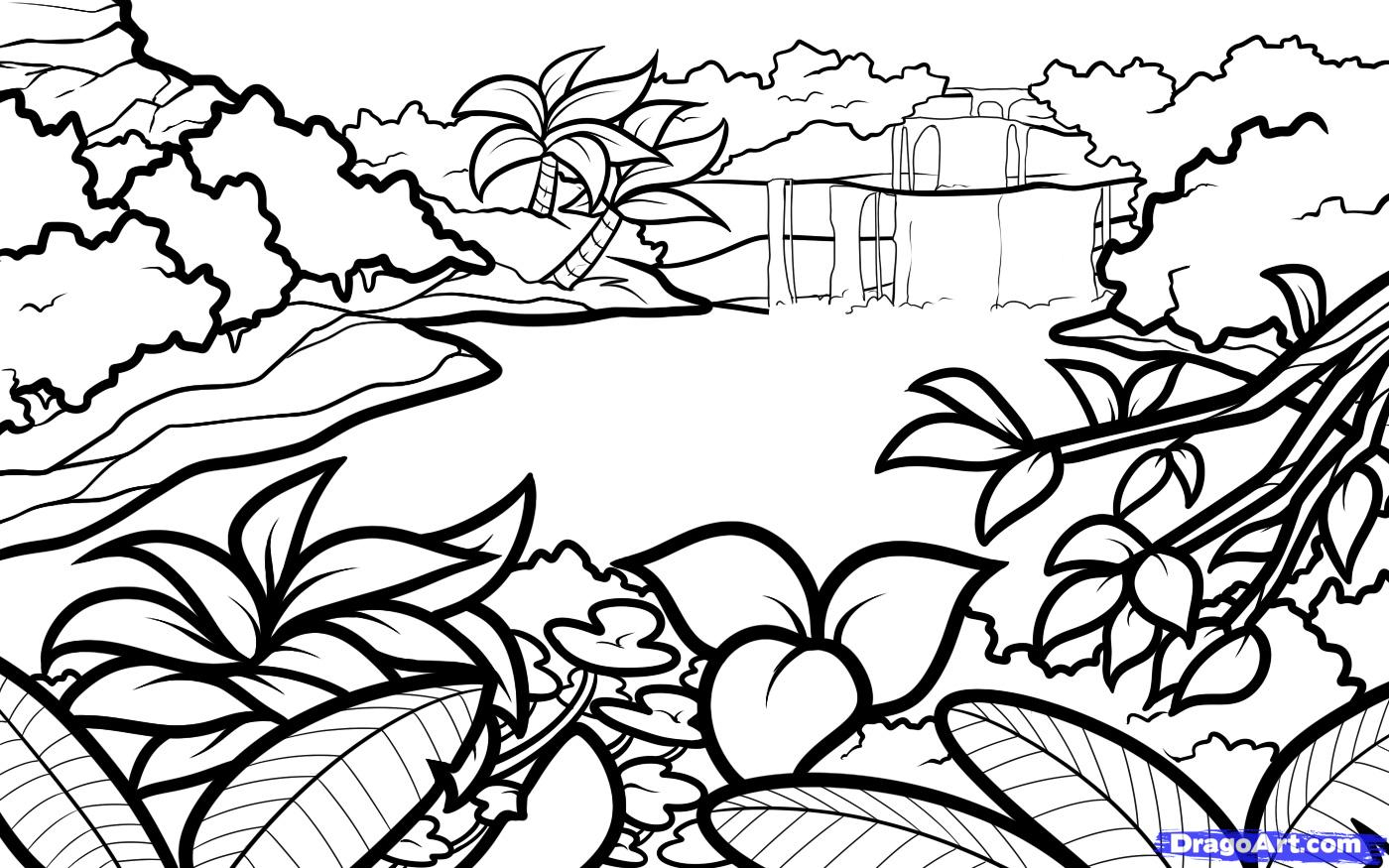 1400x875 Drawing Landscapes Step By Step How To Draw A Lagoon, Step By Step