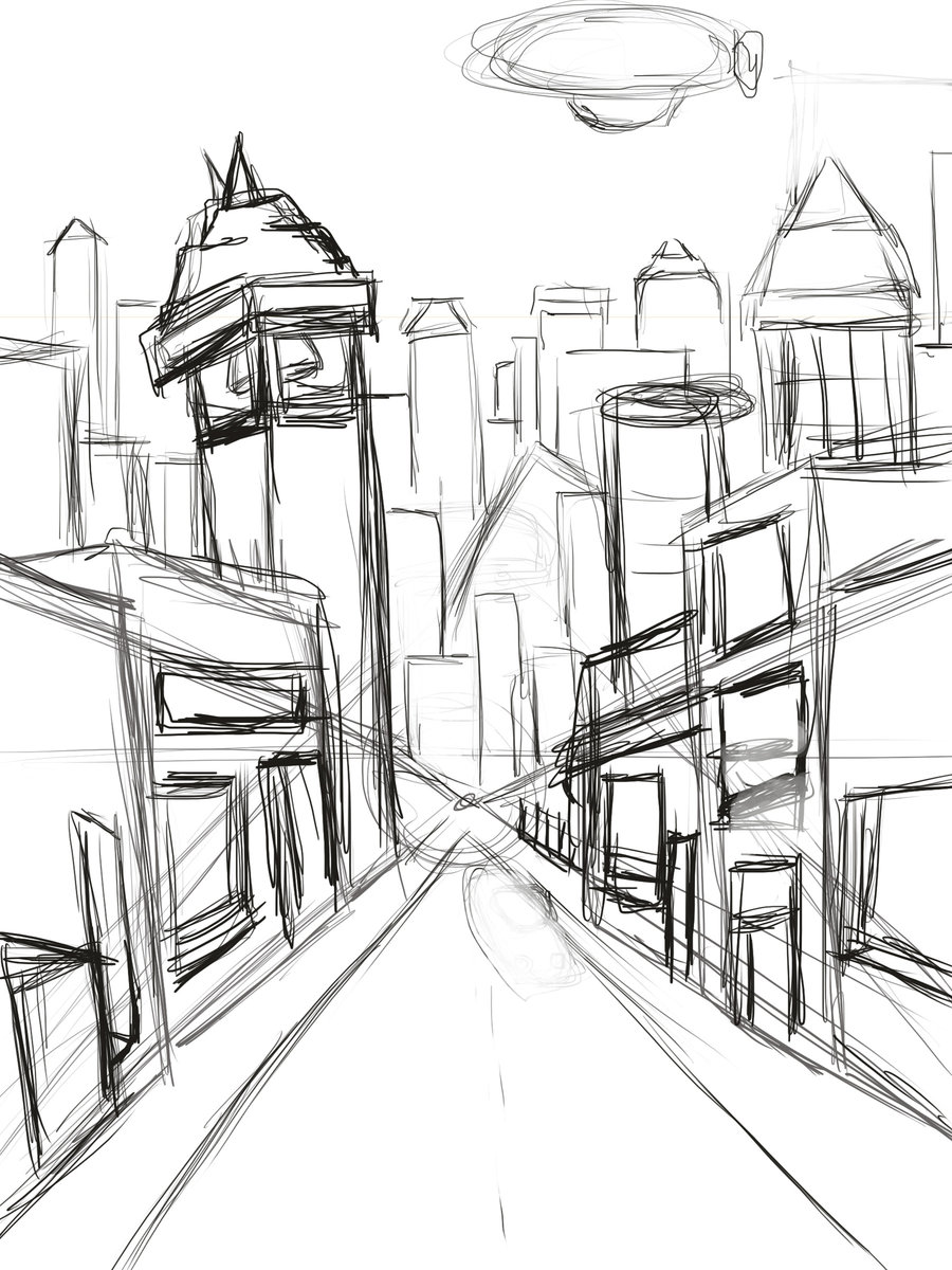 900x1200 City Street Haven City Business Street (Wip) By, Landscape Drawing