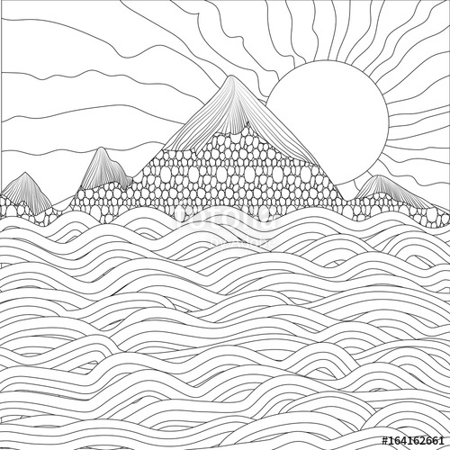 500x500 Landscape With Sea, Mountains And Sun On A White Background