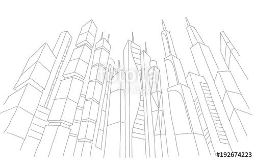 500x313 Big City Skyscraper Sketch Buildings. Gray Line Skeleton Strokes