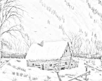 340x270 Cabin Coloring Page Etsy
