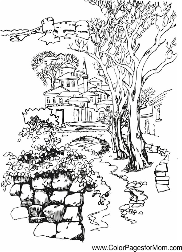 592x820 Detailed Landscape Coloring Pages For Adults Color Bros