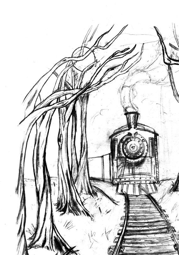 570x811 Wooden Railway Pencil Illustration Wall Art Print Railroad