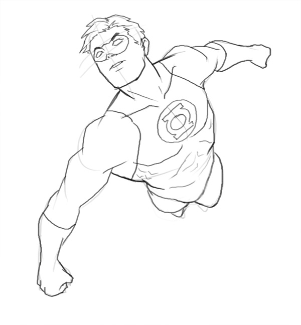 600x648 How To Draw Green Lantern Flying