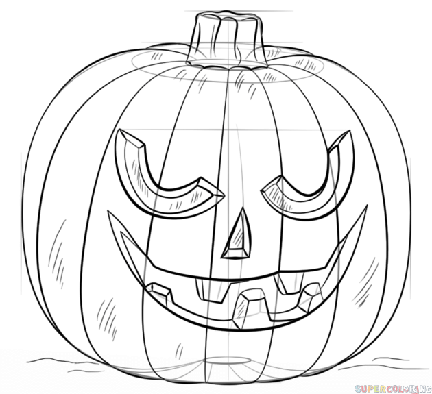 630x575 How To Draw A Jack O' Lantern Step By Step. Drawing Tutorials
