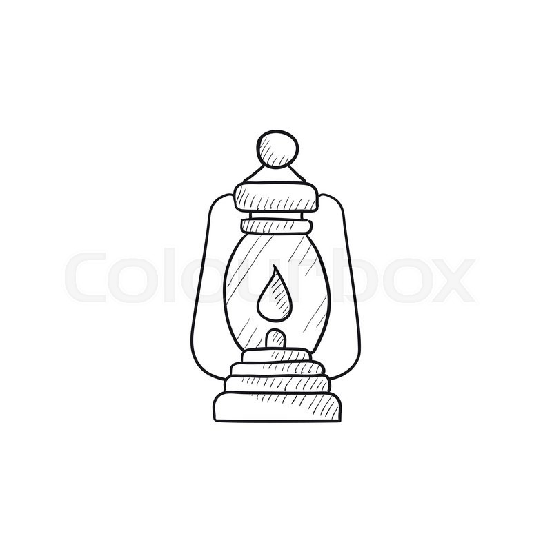 800x800 Camping Lantern Vector Sketch Icon Isolated On Background. Hand