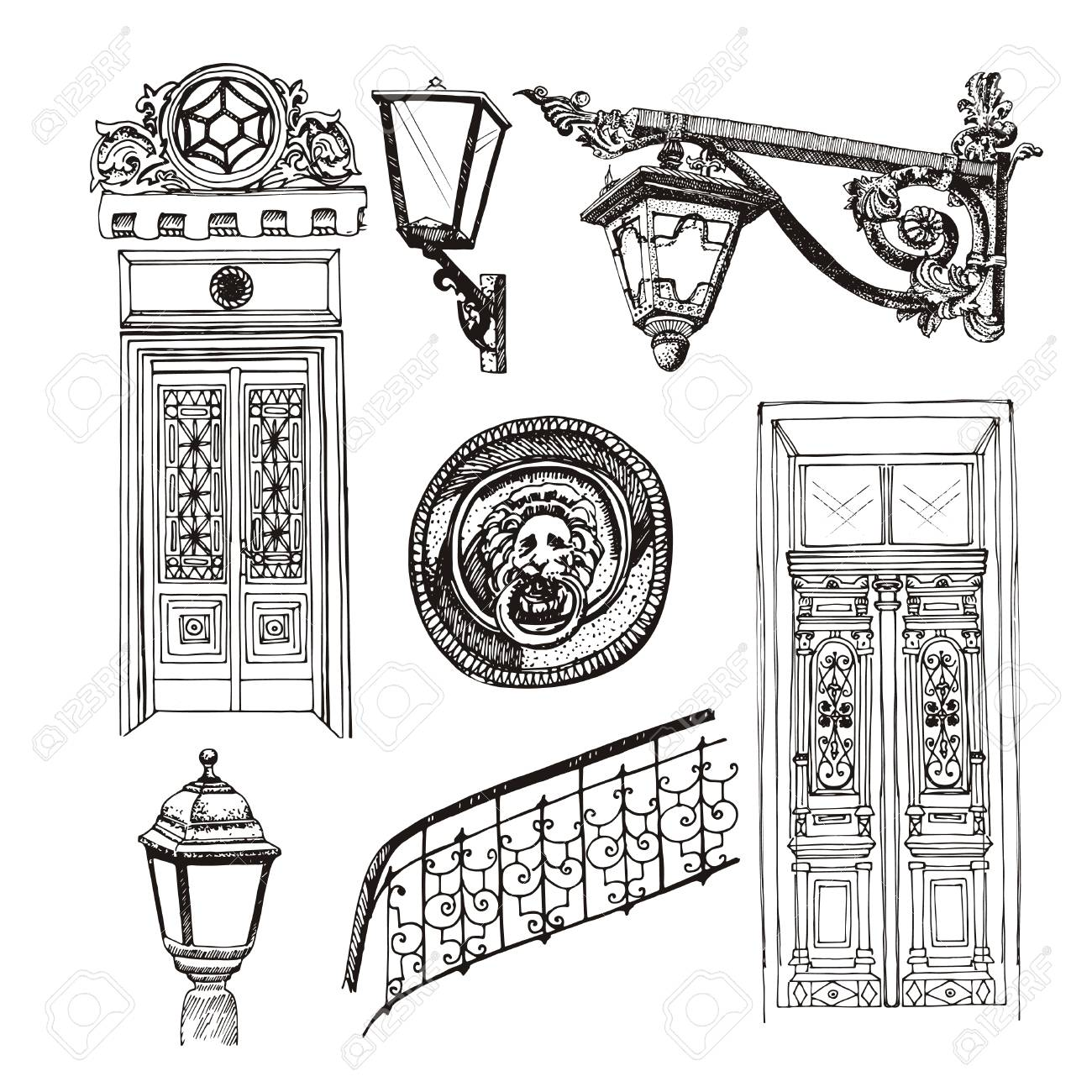 1300x1300 Forged Railings And Lanterns In Vintage Style Vector Illustration