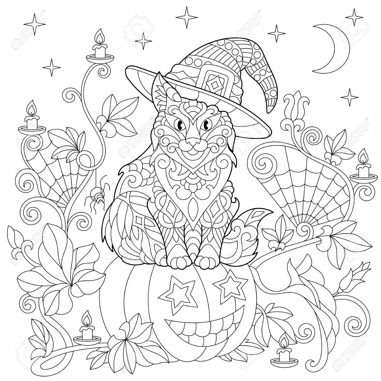 1300x1300 Halloween Coloring Page. Cat In A Hat, Halloween Pumpkin, Spider