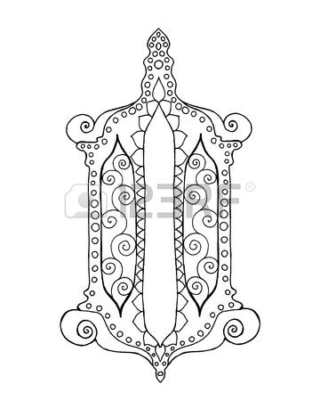 360x450 Hand Drawn Traditional Lantern Of Ramadan. Engraved Vector