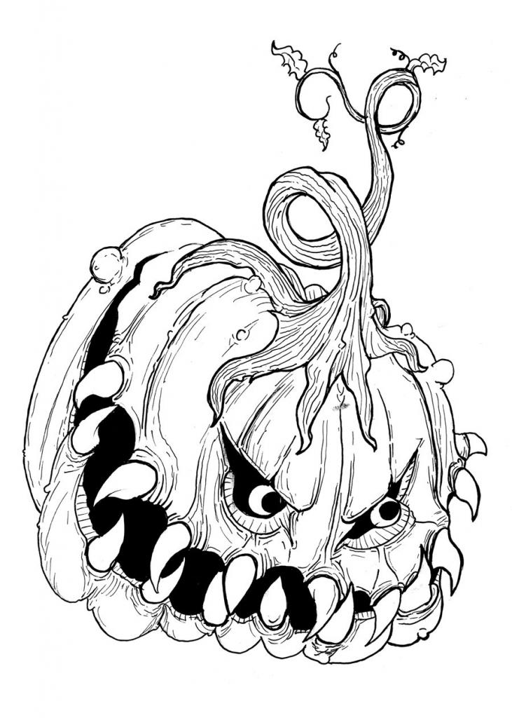731x1024 Jack O Lantern Drawing Jack O Lantern Drawings Page 1