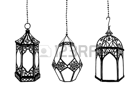 450x330 Set Of Hand Drawn Arabic Lanterns Stock Photo, Picture And Royalty