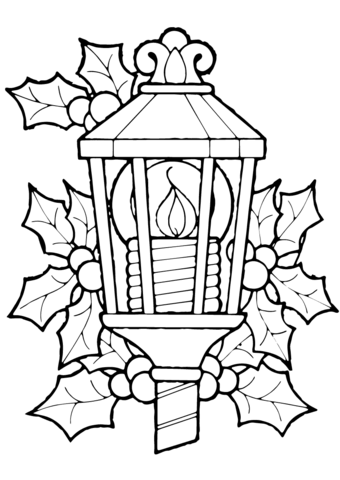 340x480 Christmas Lantern And Holly Coloring Page Free Printable