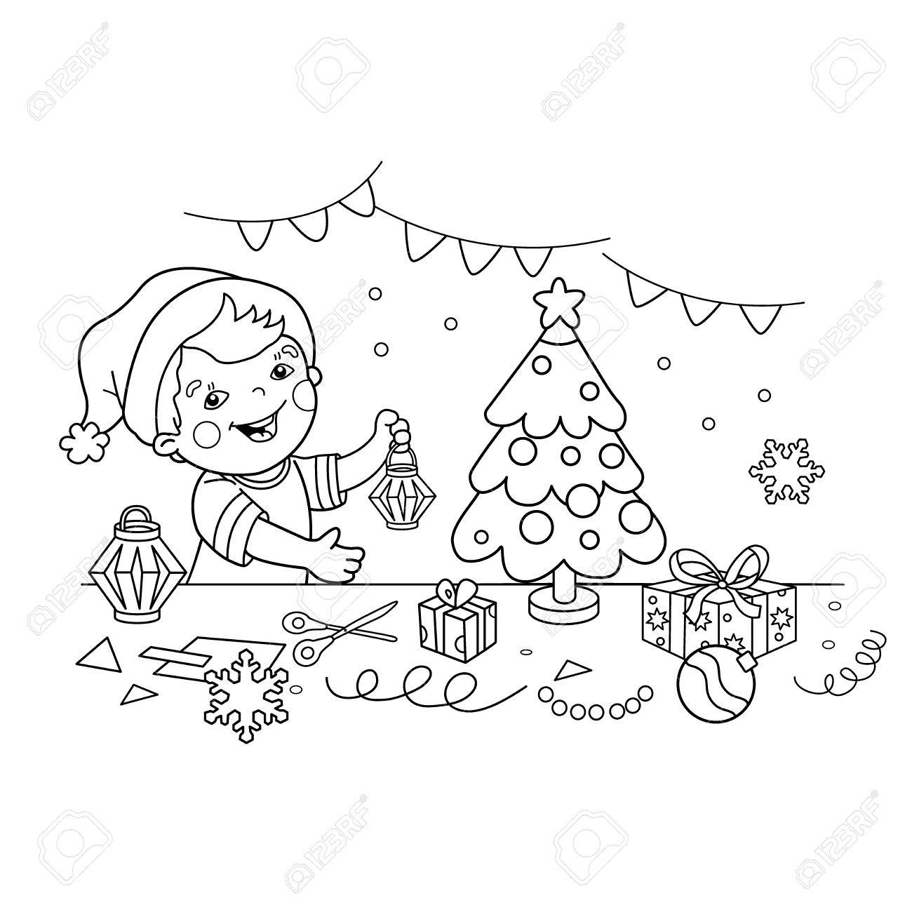 1300x1300 Coloring Page Outline Of Cartoon Boy Making Christmas Paper